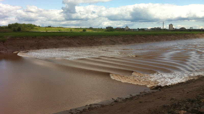 The tidal bore surging up the Peticodiac River in Moncton & Riverview New Brunswick.